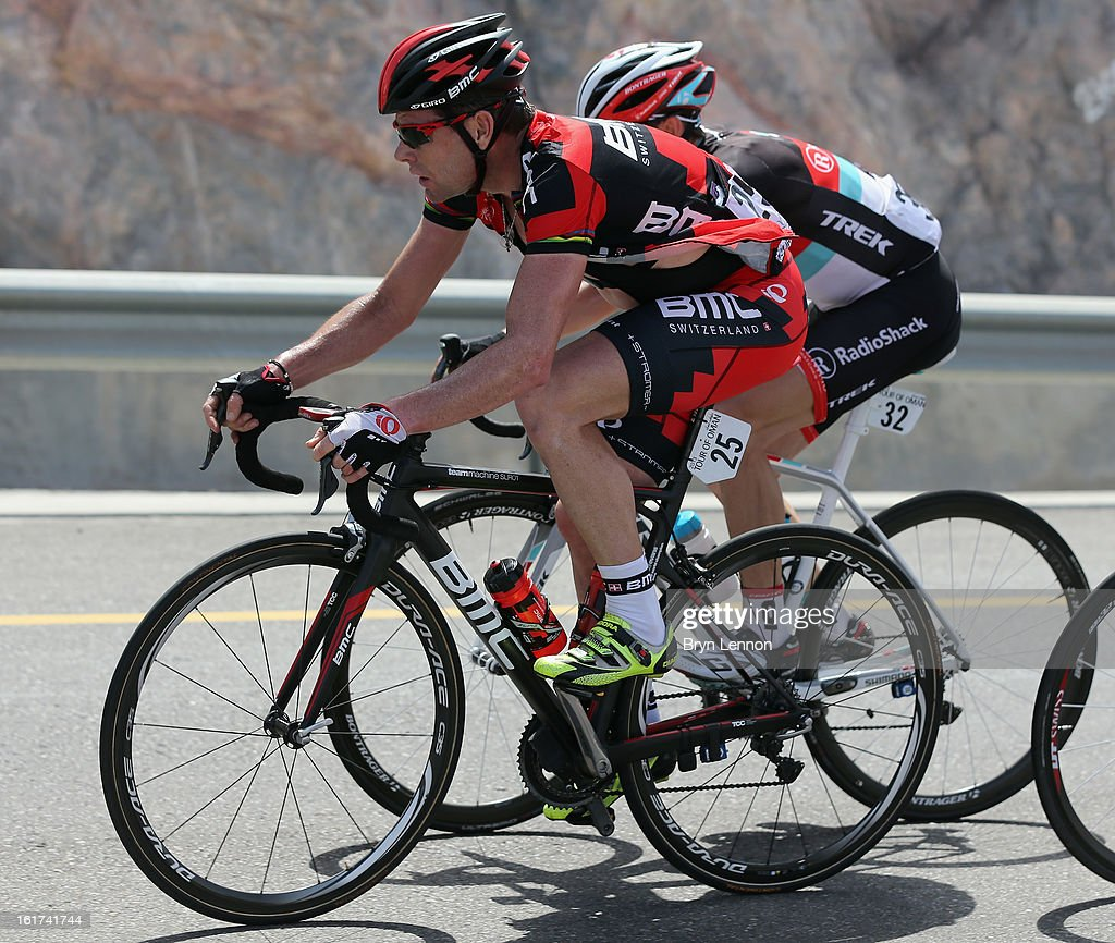 Cadel Evans of Australia and the BMC Racing team rides in the peloton during stage five of the Tour of Oman from Al Alam Palace to the Ministry of Housing in Boshar on February 15, 2013 in Boshar, Oman.