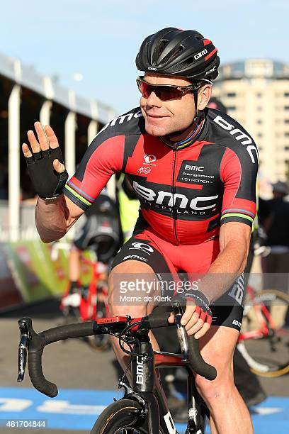 Cadel Evans of Australia and the BMC Racing team waves at spectators before riding in the People's Choice Classic a one day event prior to Stage 1 of...