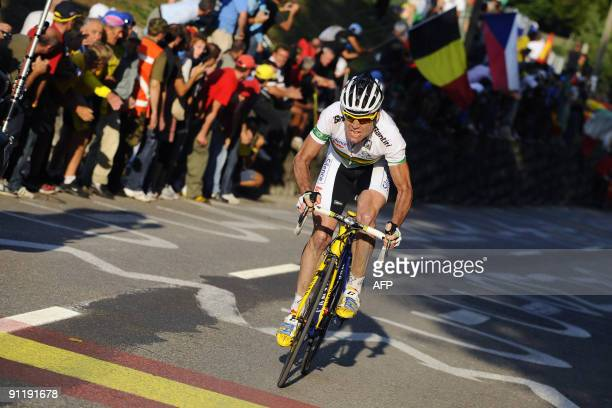 Cadel Evans of Australia powers on his way to win the elite men's road race of the UCI cycling road World Championships on September 27 2009 in...