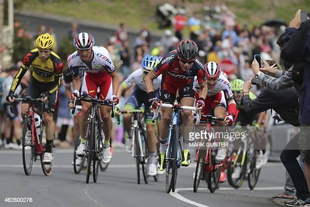 Cadel Evans of Australia races during the 2015 Cadel Evans Great Ocean Road Race Men's Elite Race in Geelong on February 1 2015 AFP PHOTO / MARK...