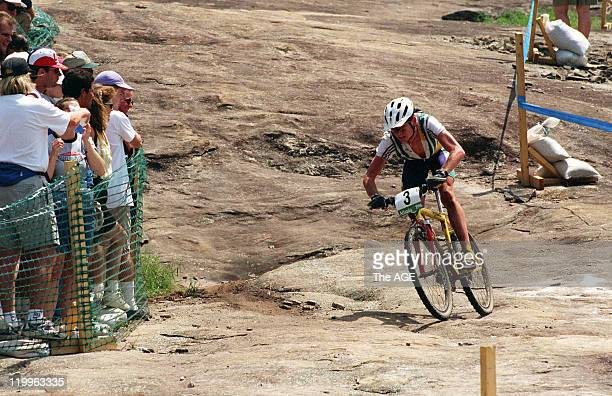 Cadel Evans of Australia rides in the Mountain Bike Race during the 1996 Atlanta Summer Olympic Games on July 30, 1996 in Atlanta, Georgia. .