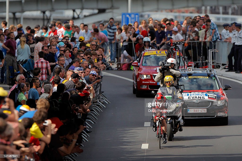 Cadel Evans of Australia riding for BMC Racing races to 13th place in the prologue of the 2012 Tour de France on June 30, 2012 in Liege, Belgium.