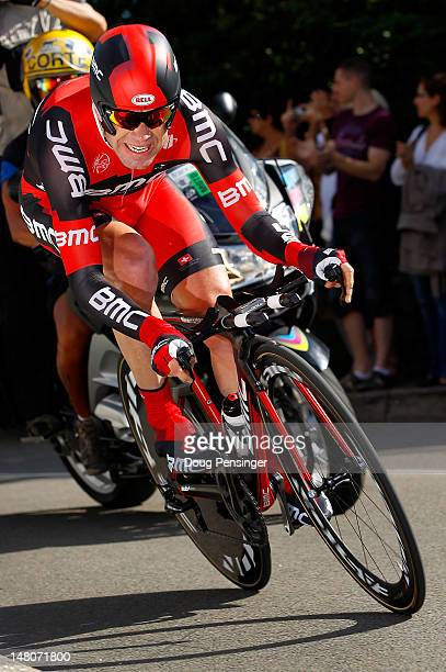 Cadel Evans of Australia riding for BMC Racing races to sixth place in the individual time trial in stage nine of the 2012 Tour de France from...