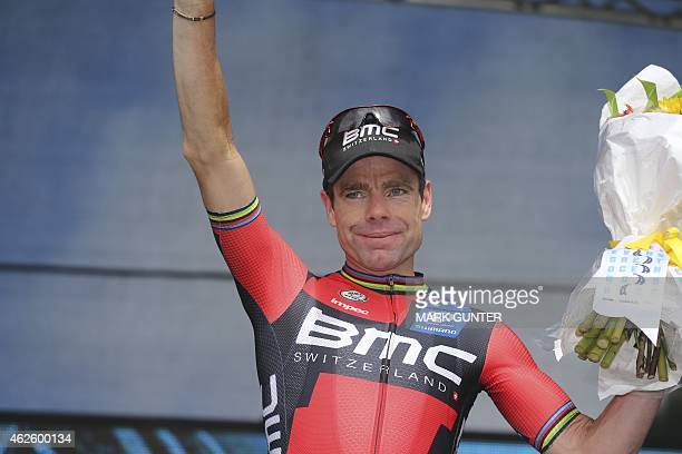 Cadel Evans of Australia waves to the crowd from the podium after the 2015 Cadel Evans Great Ocean Road Race Men's Elite Race in Geelong on February...