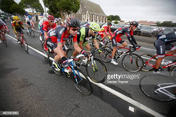 Cadel Evans of BMC Racing Team rides in the peleton during the Cadel Evans Ocean Road Race on February 1 2015 in Melbourne Australia