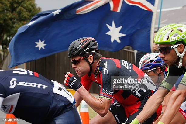 Cadel Evans of BMC Racing Team takes on some food during the Cadel Evans Ocean Road Race on February 1 2015 in Melbourne Australia