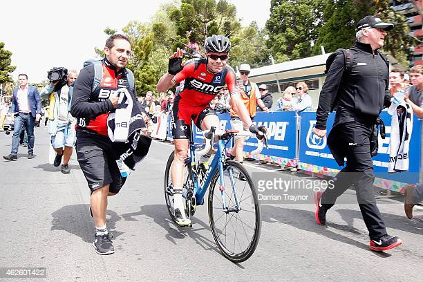 Cadel Evans of BMC Racing waves to the media after the Cadel Evans Ocean Road Race on February 1 2015 in Melbourne Australia