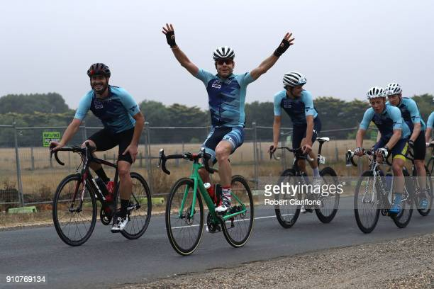 Cadel Evans participates in the People's Ride as part of the Cadel Evans Great Ocean Road Race on January 27 2018 in Geelong Australia