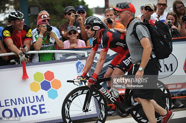 Cadel Evans rides past fans after finishing his time trial He finished 9th in the time trial The Pro Cycling Challenge kicked off today August 22...