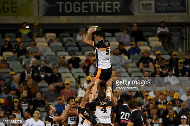Caderyn Neville of the Brumbies takes a line-out during the round 2 Super Rugby match between the Brumbies and the Rebels at GIO Stadium on February...