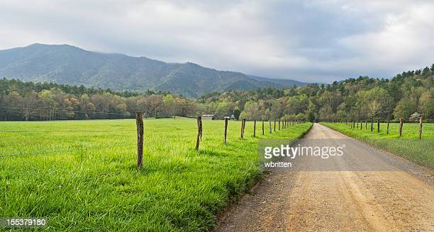 cades cove country road panoramic in the smoky mountains - cades cove stock pictures, royalty-free photos & images