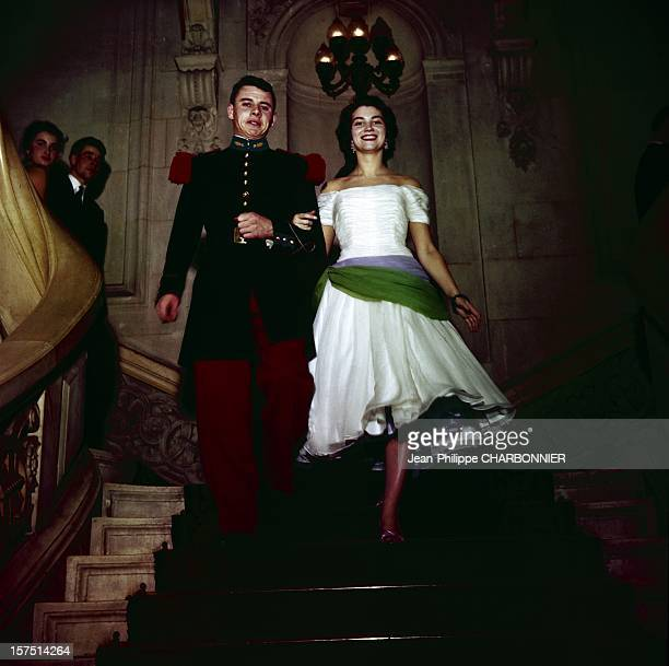 A cadet and his girlfriend arrive at the traditional ball at St Cyr military school circa 1960 in SaintCyr France
