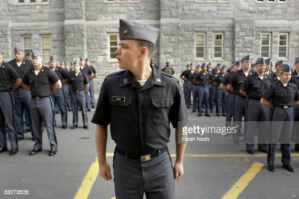 Cadet Bryan Herrin leads formation June 9 2005 at the US Military Academy of West Point in New York Herrin is Company G21's Commander for the Summer...