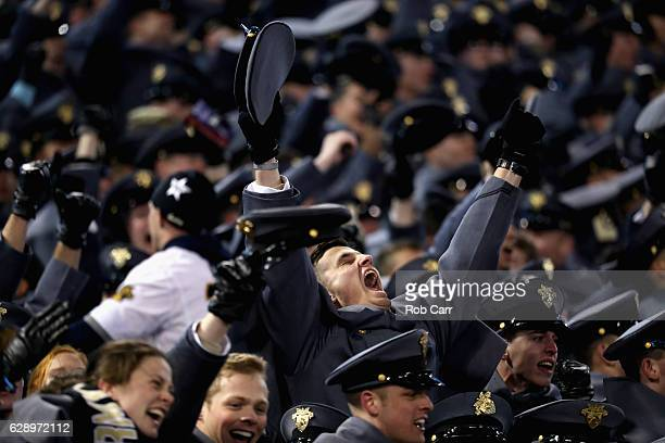 A cadet celebrates during the end of the Army Black Knights win over the Navy Midshipmen at MT Bank Stadium on December 10 2016 in Baltimore Maryland