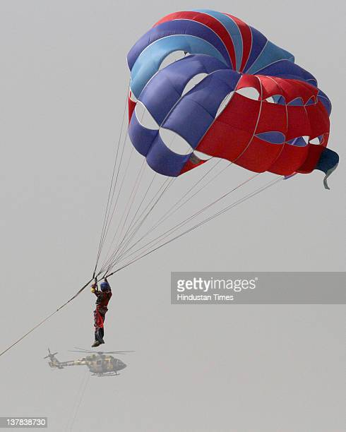 Cadet showing Parasailing skill during a National Cadet Corps Prime Minister's rally parade on January 28 2012 in New Delhi India The NCC cadets from...