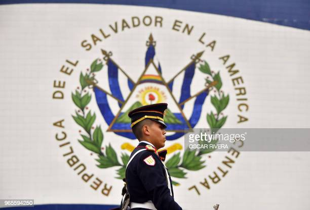 A cadet stands guard after Salvadoran President Salvador Sanchez Ceren delivers his annual address to the nation on his fourth year in office to the...