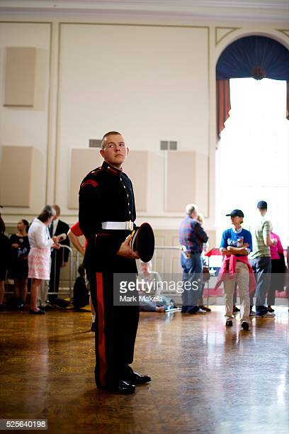 A cadet waits before a Republican Presidential candidate Mitt Romney victory rally at Valley Forge Military Academy in Wayne Pennsylvania on...