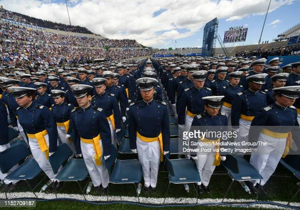 Cadets arrive at Academyu2019s Falcon Stadium at the start of the 2019 United States Air Force Academy Graduation Ceremony on May 30 2019 in Colorado...
