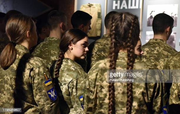 Cadets attend a meeting of the defenders of the Donetsk airport, known as 'cyborgs', at the National Museum of the History of Ukraine in the Second...