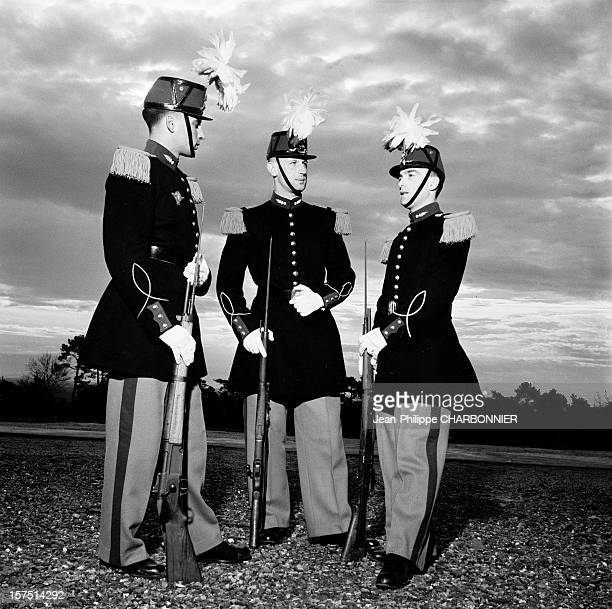 Cadets before presenting arms in the courtyard of SaintCyr military school circa 1960 in France