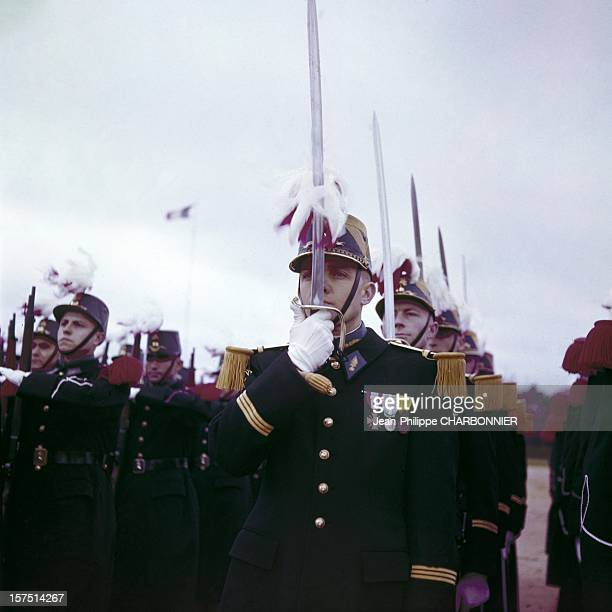 Cadets during ceremony in the courtyard of SaintCyr school circa 1960 in France