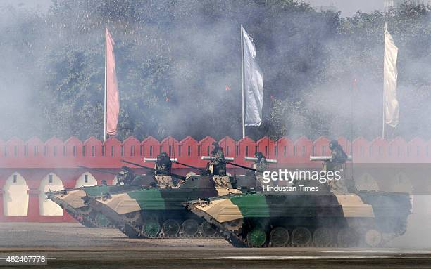 Cadets enacting a war scene during the Prime Minister's NCC Rally on January 28, 2015 in New Delhi, India. Cadets from all three wings of the armed...