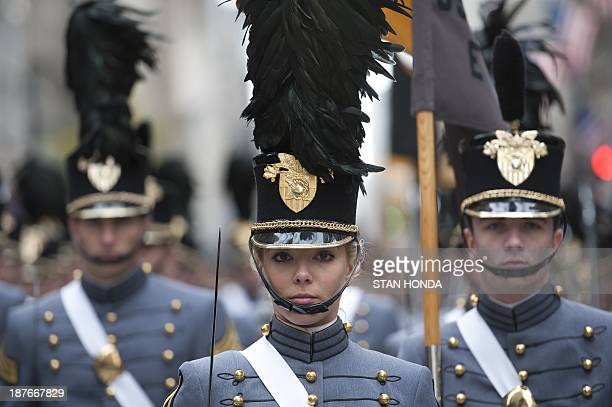 Cadets from the United States Military Academy at West Point march during the annual Veterans Day Parade Novermber 11 2013 on Fifth Avenue in New...
