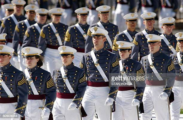 Cadets from the US Military Academy class of 2004 arrive at their graduation ceremony 29 May 2004 at West Point NY US Secretary of Defense Donald...