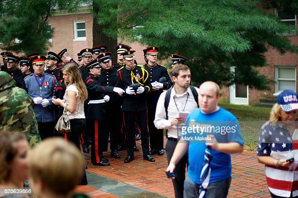 Cadets gather before Republican Presidential candidate Mitt Romney holds a victory rally at Valley Forge Military Academy in Wayne Pennsylvania on...