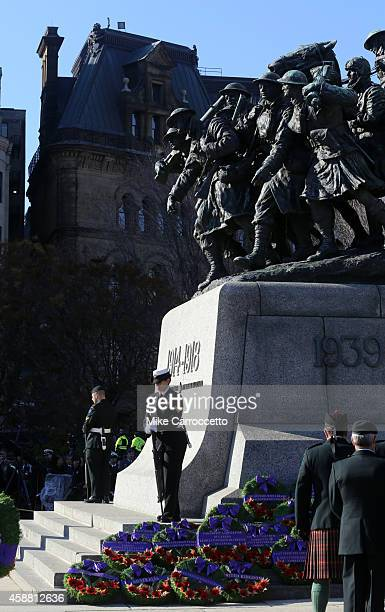 Cadets guard the War Memorial Monument during this morning's Remembrance Day ceremony November 11 2014 in Ottawa Canada An estimated 50000 or more...