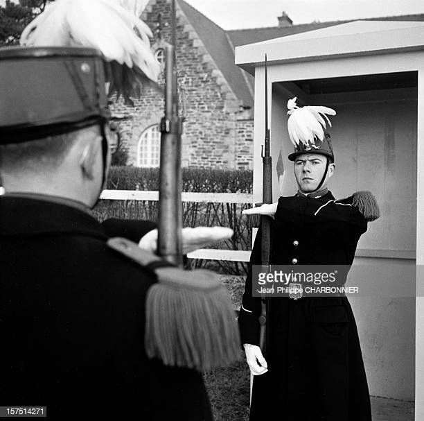 Cadets in the courtyard of SaintCyr military school during ceremony circa 1960 in France