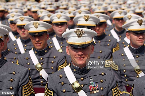 Cadets in the graduating class of the United States Military Academy at West Point participate in commencement exercises on May 23 2009 in West Point...