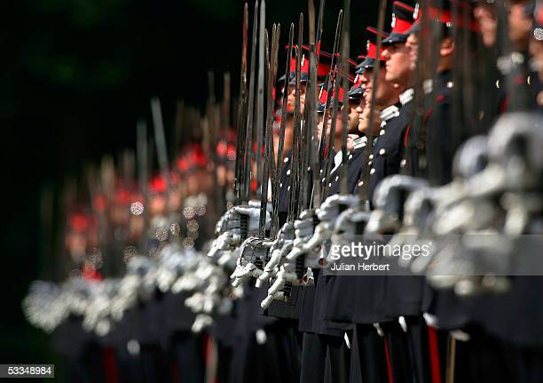 Cadets line up for inspection during The Commandants Parade held at The Royal Military Academy Sandhurst on August 10, 2005 in Camberley, England....