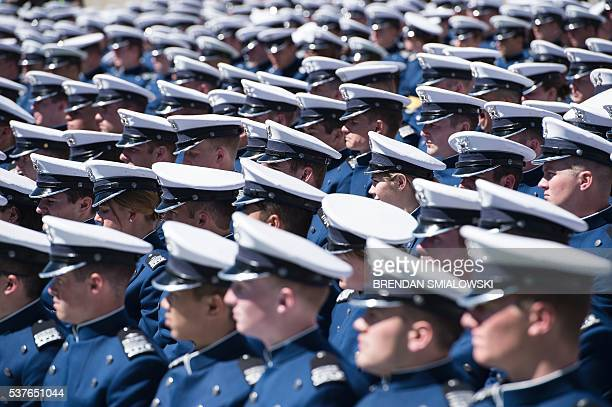 Cadets listen as US President Barack Obama speaks during a graduation ceremony at the US Air Force Academy's Falcon Stadium June 2 2016 in Colorado...