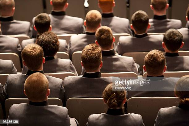 Cadets listen to US President Barack Obama as he speaks during a televised event from the US Military Academy at West Point in West Point New York US...