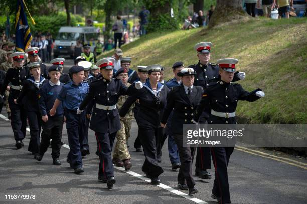 Cadets march during the parade Stirling shows its support of the UK Armed Forces as part of the UK Armed Forces Day events The day started with a...