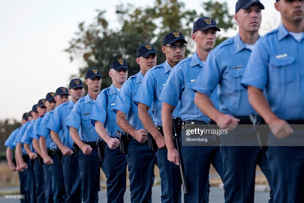 Cadets march in formation at the California Highway Patrol