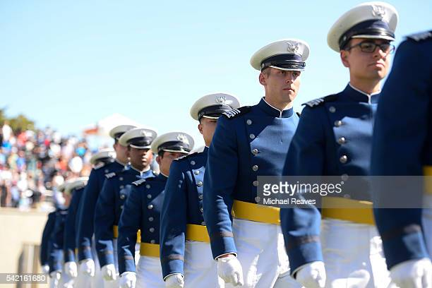 Cadets march into the stadium for the United States Air Force Academy 58th graduation commencement on June 2 2016 at Falcon Stadium