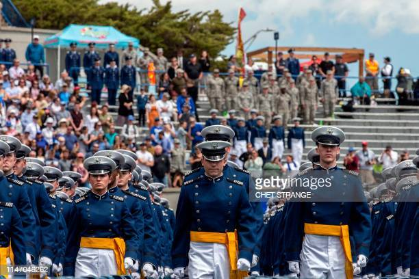 Cadets march onto the field during the 2019 graduation ceremony at the United States Air Force Academy May 30 in Colorado Springs Colorado