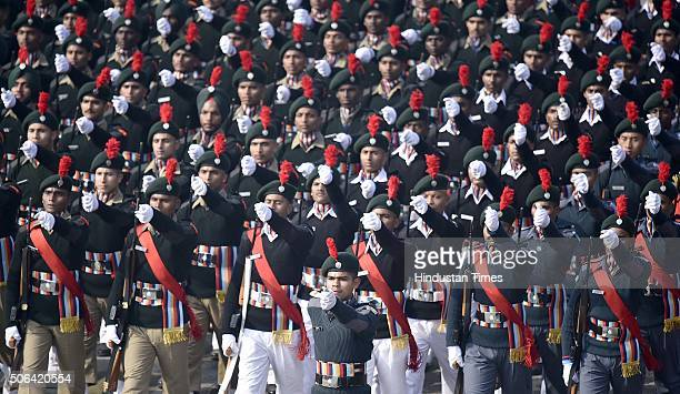 Cadets march past during a full dress rehearsal of the Republic Day Parade on January 23 2016 in New Delhi India Annual parade is held at Rajpath on...