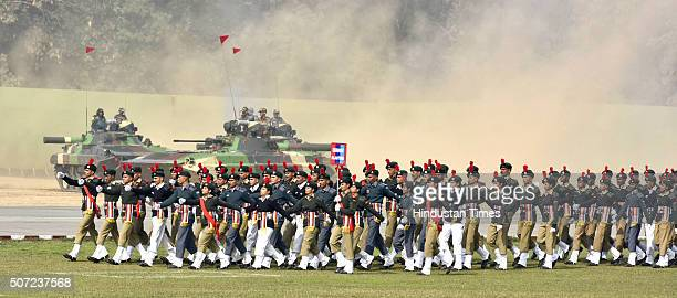 Cadets march past during PM's NCC Rally at Army Parade Ground Delhi Cantt on January 28 2016 in New Delhi India Addressing the cadets who came from...