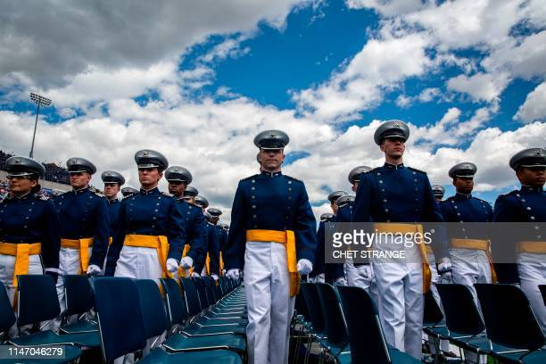 Cadets march to their seats during the 2019 graduation ceremony at the United States Air Force Academy May 30 in Colorado Springs Colorado