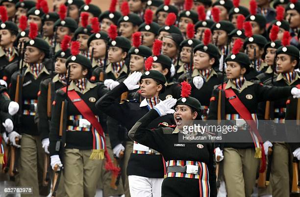 Cadets marching past during the celebration of the 68th Republic Day at Rajpath on January 26 2017 in New Delhi India India celebrates its 68th...