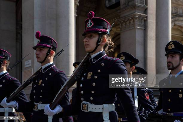 Cadets of the Italian Army Military College 'Teulie' parade during the celebrations of the Italian National Day on June 02 2018 in Milan Italy The...