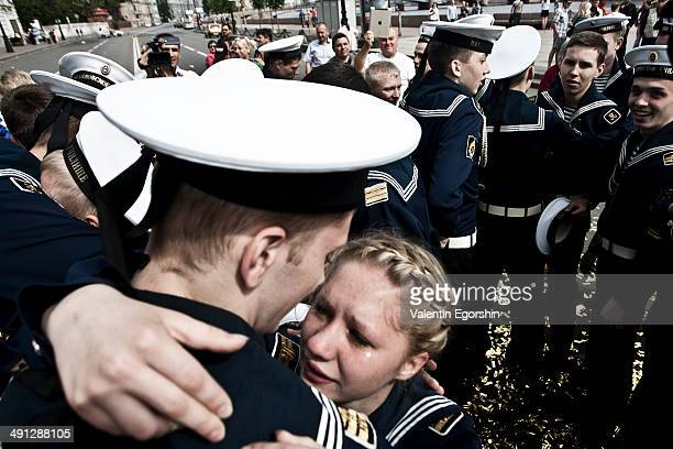 CONTENT] Cadets of the Russian Nakhimov Naval Academy celebrate their graduation in St Petersburg Russia