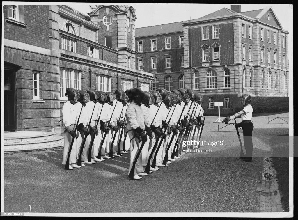 Cadets Receiving Bayonet Training at Royal Military Academy : News Photo