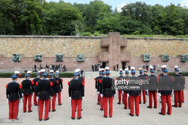 Cadets of the Special Military School of Saint-Cyr stand in line at the Mont-Valerien, a memorial for the French who fought against the Nazis and...