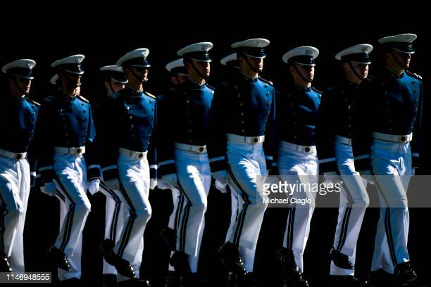 Cadets practice marching before the United States Air Force Academy graduation ceremony on May 30 2019 in Colorado Springs Colorado