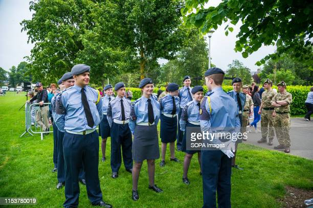 Cadets prepare to march at the display arena before the event Stirling shows its support of the UK Armed Forces as part of the UK Armed Forces Day...