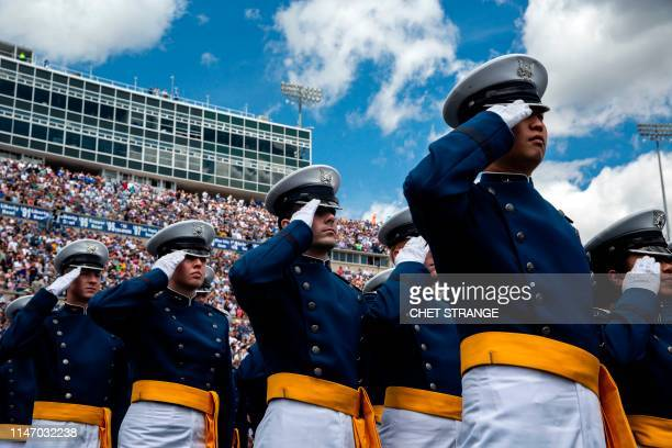 Cadets salute during the 2019 graduation ceremony at the United States Air Force Academy May 30 in Colorado Springs Colorado